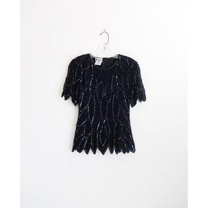 Vintage Black Sequined Blouse size Medium